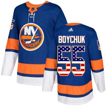 Adidas Islanders #55 Johnny Boychuk Royal Blue Home Authentic USA Flag Stitched NHL Jersey