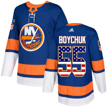 Adidas Islanders #55 Johnny Boychuk Royal Blue Home Authentic USA Flag Stitched Youth NHL Jersey