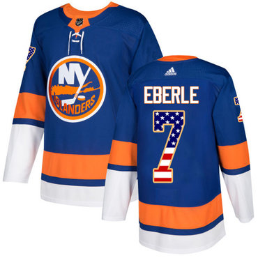 Adidas Islanders #7 Jordan Eberle Royal Blue Home Authentic USA Flag Stitched Youth NHL Jersey