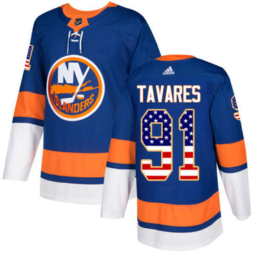 Adidas Islanders #91 John Tavares Royal Blue Home Authentic USA Flag Stitched NHL Jersey