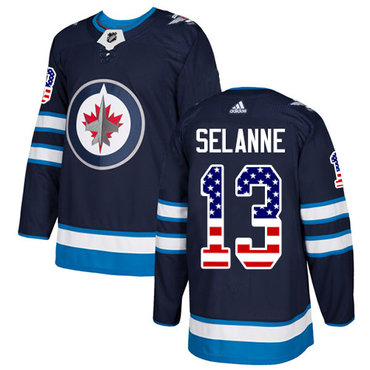 Adidas Jets #13 Teemu Selanne Navy Blue Home Authentic USA Flag Stitched NHL Jersey