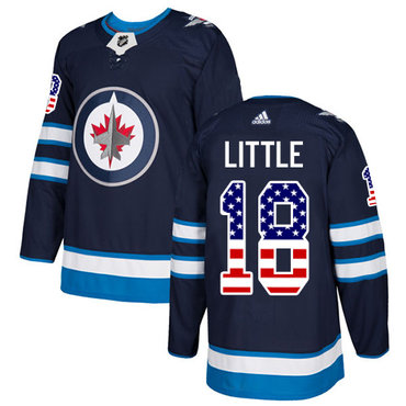 Adidas Jets #18 Bryan Little Navy Blue Home Authentic USA Flag Stitched NHL Jersey