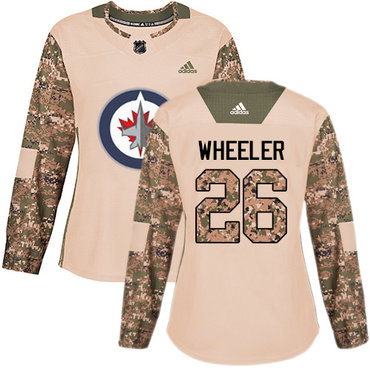 Adidas Jets #26 Blake Wheeler Camo Authentic 2017 Veterans Day Women's Stitched NHL Jersey