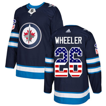 Adidas Jets #26 Blake Wheeler Navy Blue Home Authentic USA Flag Stitched NHL Jersey