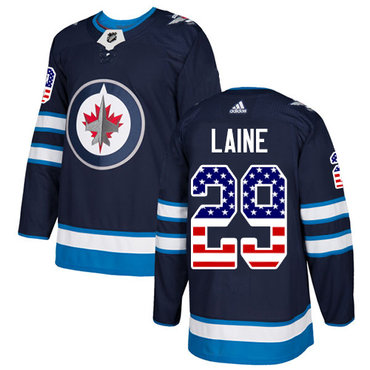 Adidas Jets #29 Patrik Laine Navy Blue Home Authentic USA Flag Stitched NHL Jersey