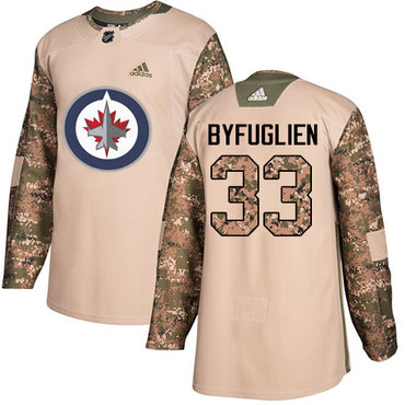 Adidas Jets #33 Dustin Byfuglien Camo Authentic 2017 Veterans Day Stitched Youth NHL Jersey