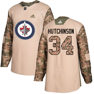 Adidas Jets #34 Michael Hutchinson Camo Authentic 2017 Veterans Day Stitched Youth NHL Jersey