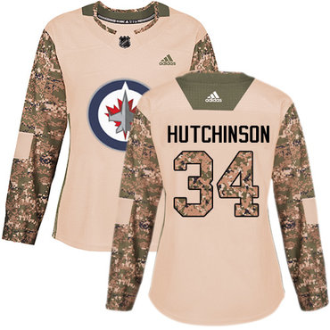 Adidas Jets #34 Michael Hutchinson Camo Authentic 2017 Veterans Day Women's Stitched NHL Jersey