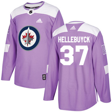 Adidas Jets #37 Connor Hellebuyck Purple Authentic Fights Cancer Stitched NHL Jersey