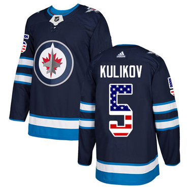 Adidas Jets #5 Dmitry Kulikov Navy Blue Home Authentic USA Flag Stitched NHL Jersey