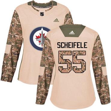 Adidas Jets #55 Mark Scheifele Camo Authentic 2017 Veterans Day Women's Stitched NHL Jersey
