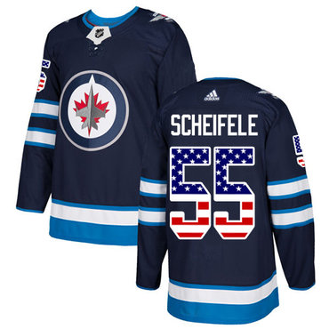 Adidas Jets #55 Mark Scheifele Navy Blue Home Authentic USA Flag Stitched NHL Jersey