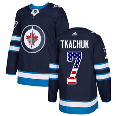 Adidas Jets #7 Keith Tkachuk Navy Blue Home Authentic USA Flag Stitched NHL Jersey