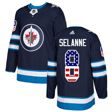 Adidas Jets #8 Teemu Selanne Navy Blue Home Authentic USA Flag Stitched NHL Jersey