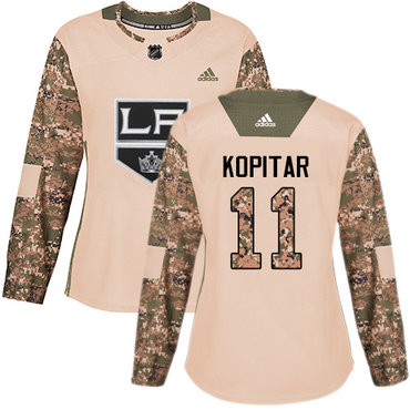 Adidas Kings #11 Anze Kopitar Camo Authentic 2017 Veterans Day Women's Stitched NHL Jersey