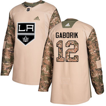 Adidas Kings #12 Marian Gaborik Camo Authentic 2017 Veterans Day Stitched Youth NHL Jersey