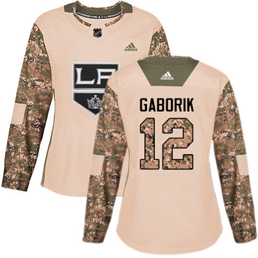 Adidas Kings #12 Marian Gaborik Camo Authentic 2017 Veterans Day Women's Stitched NHL Jersey