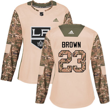 Adidas Kings #23 Dustin Brown Camo Authentic 2017 Veterans Day Women's Stitched NHL Jersey
