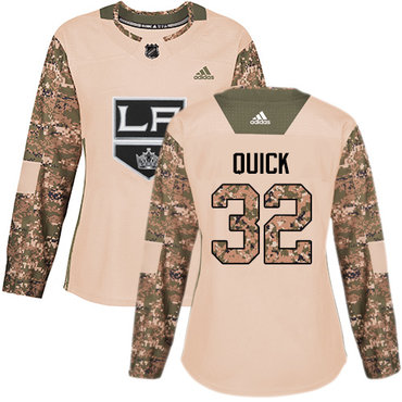 Adidas Kings #32 Jonathan Quick Camo Authentic 2017 Veterans Day Women's Stitched NHL Jersey
