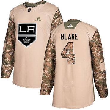 Adidas Kings #4 Rob Blake Camo Authentic 2017 Veterans Day Stitched Youth NHL Jersey