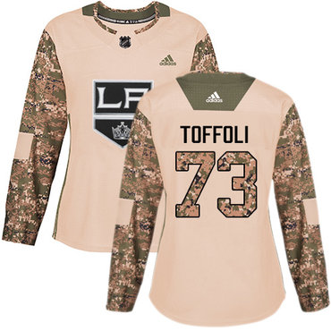 Adidas Kings #73 Tyler Toffoli Camo Authentic 2017 Veterans Day Women's Stitched NHL Jersey