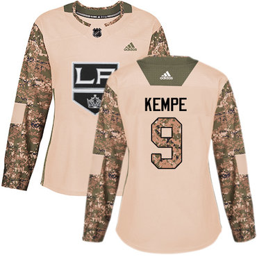 Adidas Kings #9 Adrian Kempe Camo Authentic 2017 Veterans Day Women's Stitched NHL Jersey