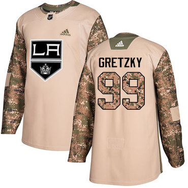 Adidas Kings #99 Wayne Gretzky Camo Authentic 2017 Veterans Day Stitched Youth NHL Jersey