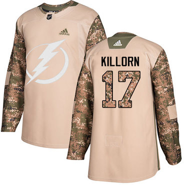 Adidas Lightning #17 Alex Killorn Camo Authentic 2017 Veterans Day Stitched Youth NHL Jersey