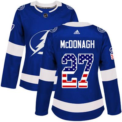 Adidas Lightning #27 Ryan McDonagh Blue Home Authentic USA Flag Women's Stitched NHL Jersey