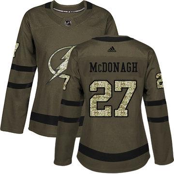 Adidas Lightning #27 Ryan McDonagh Green Salute to Service Women's Stitched NHL Jersey