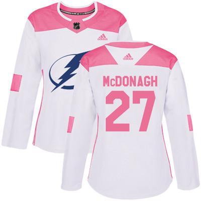 Adidas Lightning #27 Ryan McDonagh White Pink Authentic Fashion Women's Stitched NHL Jersey
