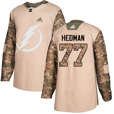 Adidas Lightning #77 Victor Hedman Camo Authentic 2017 Veterans Day Stitched Youth NHL Jersey