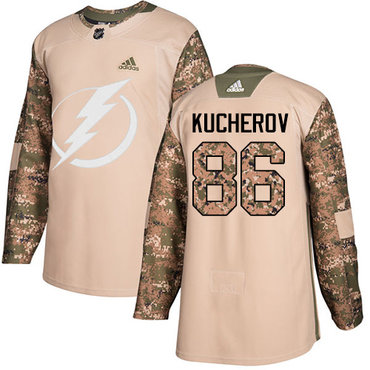 Adidas Lightning #86 Nikita Kucherov Camo Authentic 2017 Veterans Day Stitched Youth NHL Jersey