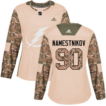 Adidas Lightning #90 Vladislav Namestnikov Camo Authentic 2017 Veterans Day Women's Stitched NHL Jersey