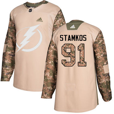 Adidas Lightning #91 Steven Stamkos Camo Authentic 2017 Veterans Day Stitched Youth NHL Jersey