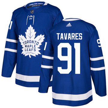 Adidas Maple Leafs #91 John Tavares Blue Home Authentic Stitched Youth NHL Jersey