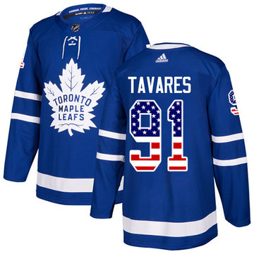Adidas Maple Leafs #91 John Tavares Blue Home Authentic USA Flag Stitched Youth NHL Jersey