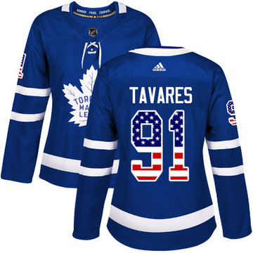 Adidas Maple Leafs #91 John Tavares Blue Home Authentic USA Flag Women's Stitched NHL Jersey