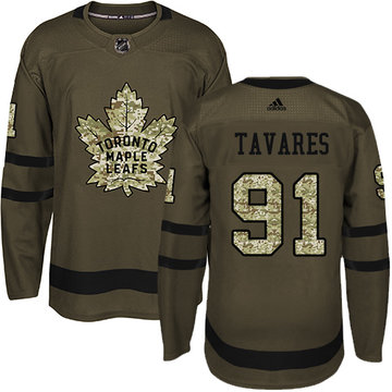 Adidas Maple Leafs #91 John Tavares Green Salute to Service Stitched Youth NHL Jersey