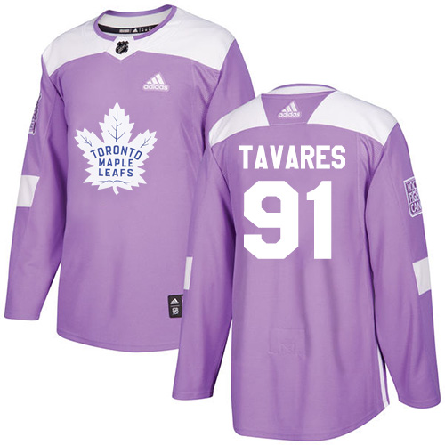 Adidas Maple Leafs #91 John Tavares Purple Authentic Fights Cancer Stitched Youth NHL Jersey