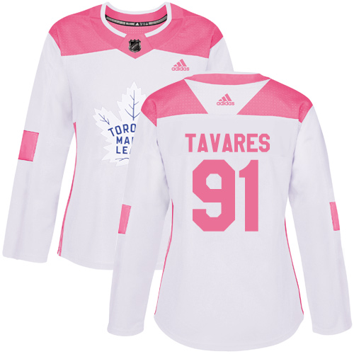 Adidas Maple Leafs #91 John Tavares White Pink Authentic Fashion Women's Stitched NHL Jersey