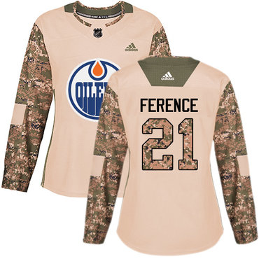 Adidas Oilers #21 Andrew Ference Camo Authentic 2017 Veterans Day Women's Stitched NHL Jersey