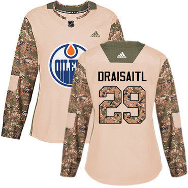 Adidas Oilers #29 Leon Draisaitl Camo Authentic 2017 Veterans Day Women's Stitched NHL Jersey