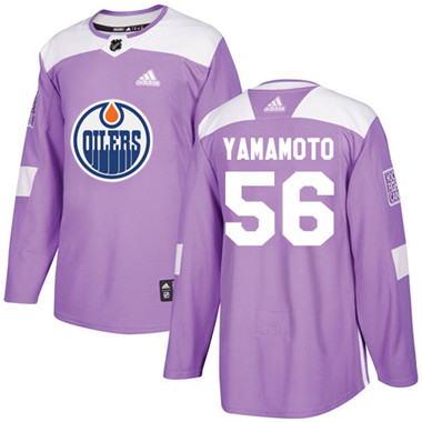 Adidas Oilers #56 Kailer Yamamoto Purple Authentic Fights Cancer Stitched NHL Jersey
