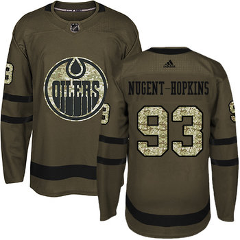 Adidas Oilers #93 Ryan Nugent-Hopkins Green Salute to Service Stitched NHL Jersey