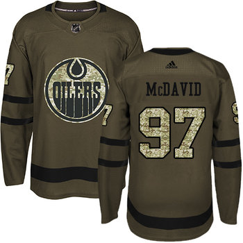 Adidas Oilers #97 Connor McDavid Green Salute to Service Stitched NHL Jersey