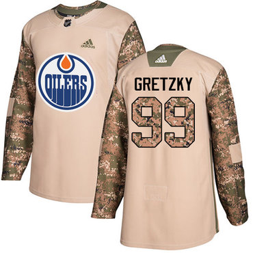 Adidas Oilers #99 Wayne Gretzky Camo Authentic 2017 Veterans Day Stitched Youth NHL Jersey