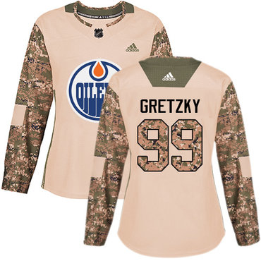 Adidas Oilers #99 Wayne Gretzky Camo Authentic 2017 Veterans Day Women's Stitched NHL Jersey