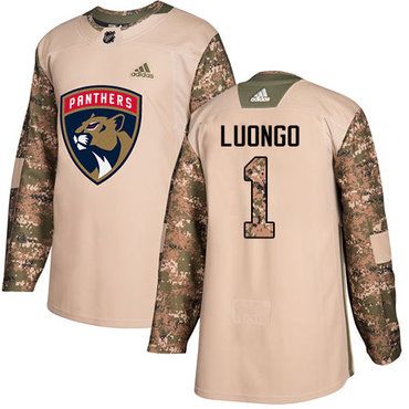 Adidas Panthers #1 Roberto Luongo Camo Authentic 2017 Veterans Day Stitched Youth NHL Jersey