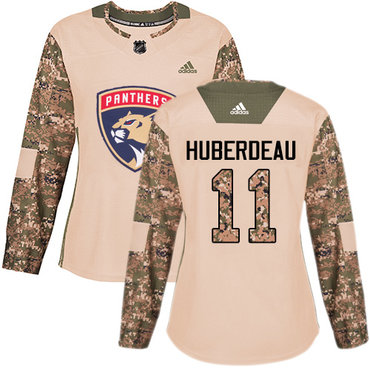 Adidas Panthers #11 Jonathan Huberdeau Camo Authentic 2017 Veterans Day Women's Stitched NHL Jersey